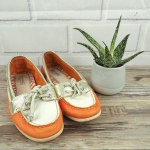 Sperry Topsiders size 6 orange gold white